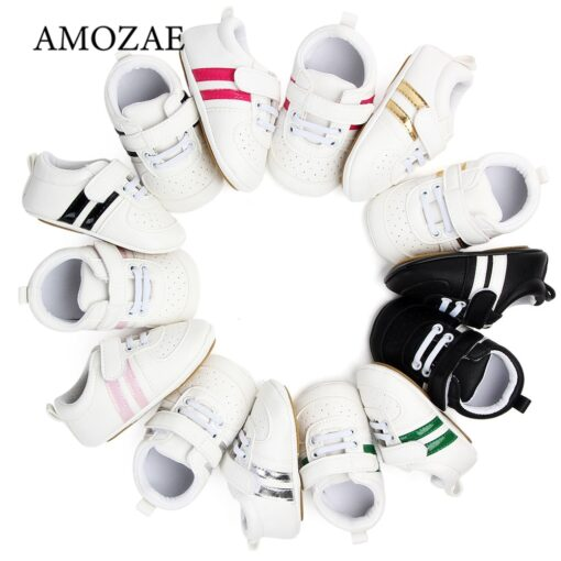 2020 Baby Shoes Newborn Boys Girls Two Striped First Walkers Kids Toddlers Lace Up PU Leather