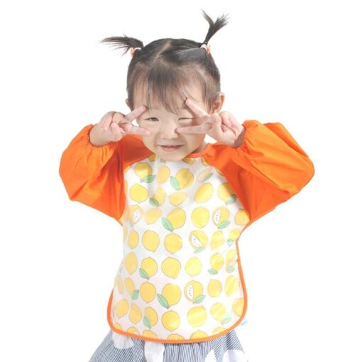 2020 Cute Baby Waterproof Long Sleeve Apron Children Feeding Smock Bib Burp Clothes Soft Eat Toddler