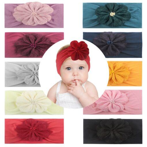 2020 Kid Headwear Barrette Accessories Nylon Fabric Flower Flora Headband Cute Princess Fashionable Bands Kids Headband 5