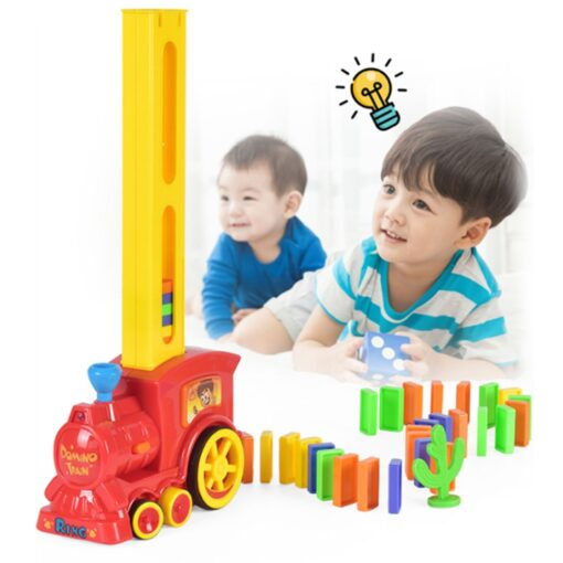 2020 New Arrival Domino Game Toy Set Domino Train Automatic Train with 60pcs Colorful Domino blocks 2