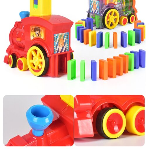 2020 New Arrival Domino Game Toy Set Domino Train Automatic Train with 60pcs Colorful Domino blocks 3