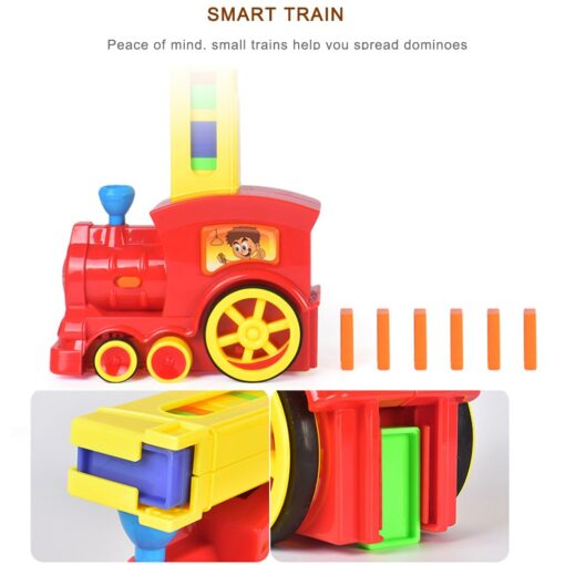2020 New Arrival Domino Game Toy Set Domino Train Automatic Train with 60pcs Colorful Domino blocks 4