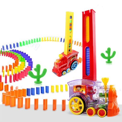 2020 New Arrival Domino Game Toy Set Domino Train Automatic Train with 60pcs Colorful Domino blocks