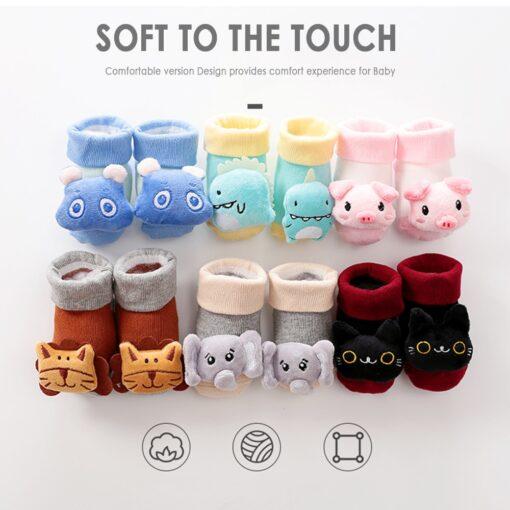 2020 New Cartoon Baby Socks Anti Slip Newborn Rattle Socks Cute Autumn Floor Cotton Socks Warm