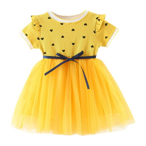 2020 New Fashion new arrival Toddler Baby Girls Ruched Patchwork Dot Tulle Skirt Party Princess Dress 1