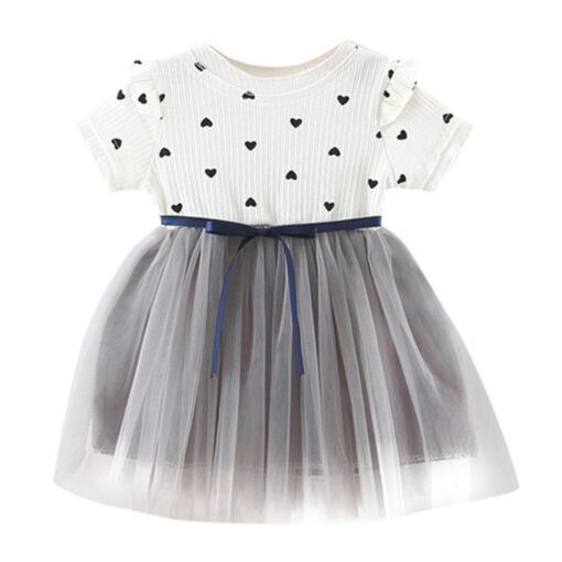 2020 New Fashion new arrival Toddler Baby Girls Ruched Patchwork Dot Tulle Skirt Party Princess Dress 2