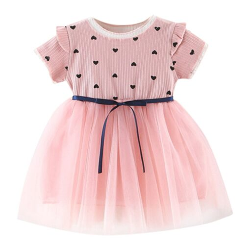 2020 New Fashion new arrival Toddler Baby Girls Ruched Patchwork Dot Tulle Skirt Party Princess Dress 3