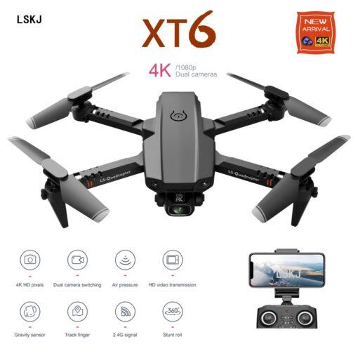 2020 New Mini Rc Drone XT6 4K 1080P HD Dual Camera WiFi FPV Air Pressure Altitude