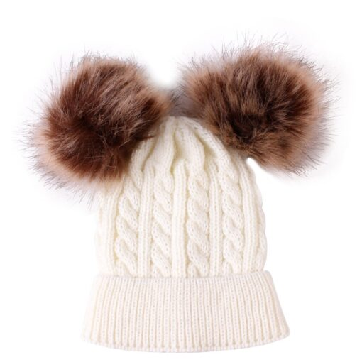2020 New Newborn Baby Kids Girls Boys Winter Warm Knit Hat Furry Balls Pompom Solid Warm 1