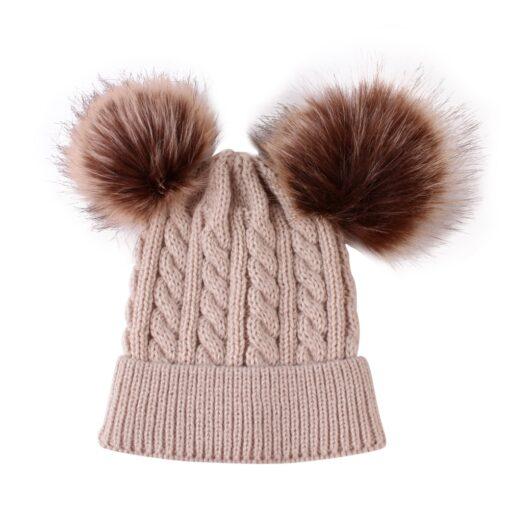 2020 New Newborn Baby Kids Girls Boys Winter Warm Knit Hat Furry Balls Pompom Solid Warm 3