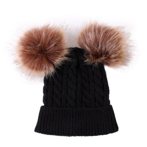 2020 New Newborn Baby Kids Girls Boys Winter Warm Knit Hat Furry Balls Pompom Solid Warm 5