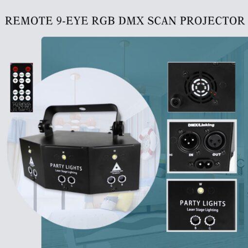 2020 New Remote 9 EYE RGB DMX Scan Projector Laser LED Strobe DJ Party Stage Lighting
