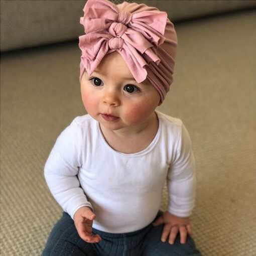 2020 Newborn Toddler Baby Girls Solid color Turban Lovely Indian knot Turban Headband Hair Accessories Baby 3