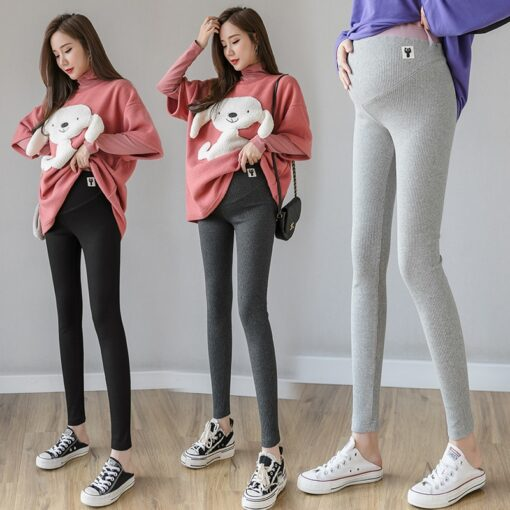 2020 Pregnant Women Leggings Trousers Fashion Embroidery Belly Pants Solid Color Maternity Skinny Trousers Knitting Wholesale 2