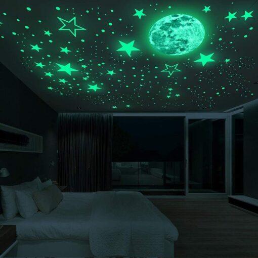 20cm Moon 435pcs Stars Dots 3D Luminous Wall Sticker Room Ceiling Stairs Decoration Fluorescent Mural Art 1