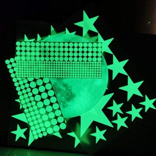 20cm Moon 435pcs Stars Dots 3D Luminous Wall Sticker Room Ceiling Stairs Decoration Fluorescent Mural Art 10