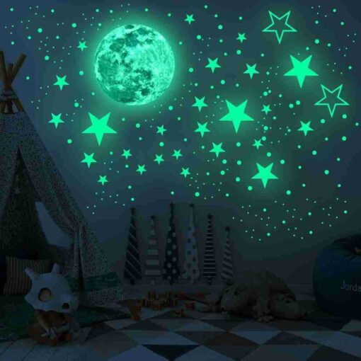 20cm Moon 435pcs Stars Dots 3D Luminous Wall Sticker Room Ceiling Stairs Decoration Fluorescent Mural Art 11