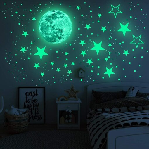 20cm Moon 435pcs Stars Dots 3D Luminous Wall Sticker Room Ceiling Stairs Decoration Fluorescent Mural Art 12