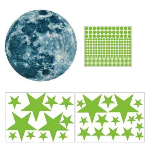 20cm Moon 435pcs Stars Dots 3D Luminous Wall Sticker Room Ceiling Stairs Decoration Fluorescent Mural Art 20