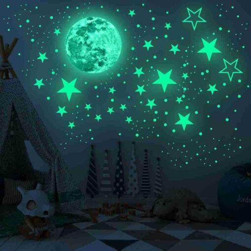 20cm Moon 435pcs Stars Dots 3D Luminous Wall Sticker Room Ceiling Stairs Decoration Fluorescent Mural Art 23