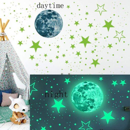 20cm Moon 435pcs Stars Dots 3D Luminous Wall Sticker Room Ceiling Stairs Decoration Fluorescent Mural Art 3