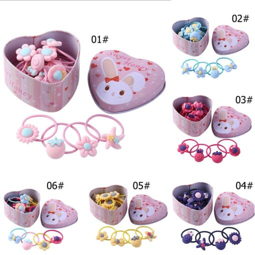 20pcs set Girls Hair Bands Rubber Bands with Box Cute Cartoon Kids Elastic Hairband Infant Scrunchies 3