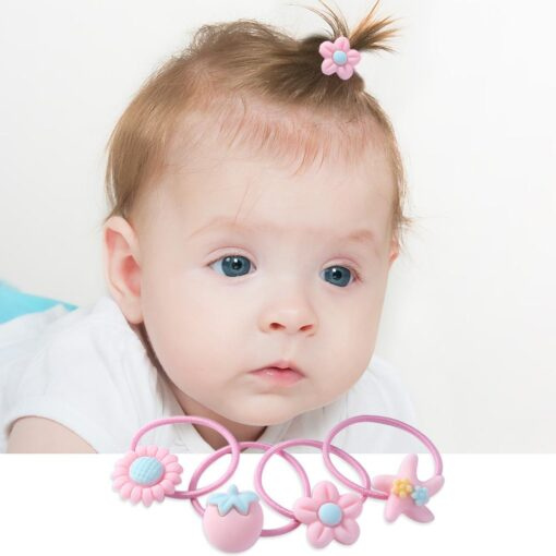 20pcs set Girls Hair Bands Rubber Bands with Box Cute Cartoon Kids Elastic Hairband Infant Scrunchies 5