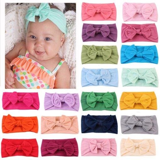 21 Colors Nylon Headband for Baby Girls Baby Boys Soft Bow Knot Turban Hair Bands Baby