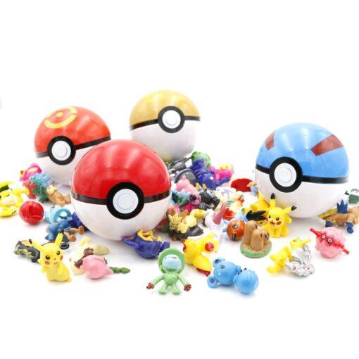 21styles PokeBalls with 2 3cm mini figure Inside 7cm Elf Ball Toys For Children Pokemoned Pikachu 3