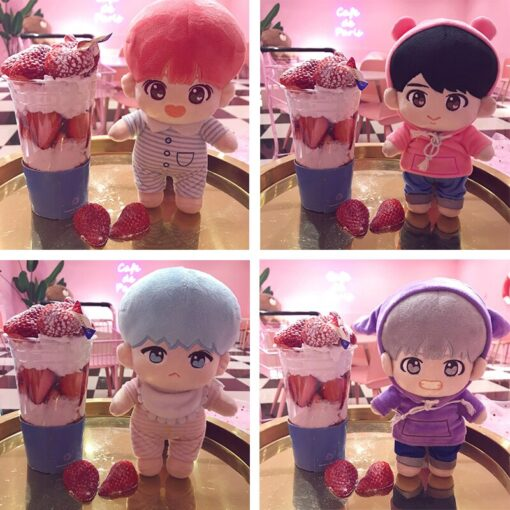 23cm Kawaii Korea Cartoon Plush Dolls Toys Plush Stuffed Doll Superstar Cute With Clothes Toy Gifts 2