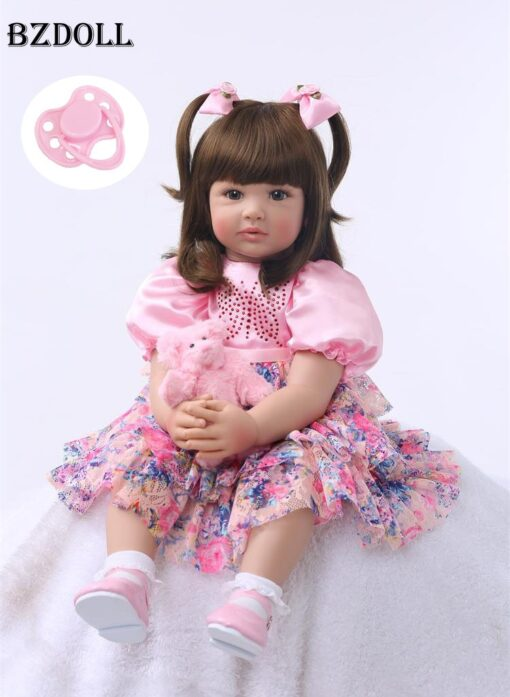 24 Silicone Reborn Toddler Baby Doll Toys 60cm Princess Girl Like Alive Bebe Girls Brinquedos Limited
