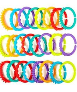 24Pcs Set Cute Colorful Rings Baby Teether Toy Crib Bed Stroller Hanging Rattles Toy Decoration Educational 1