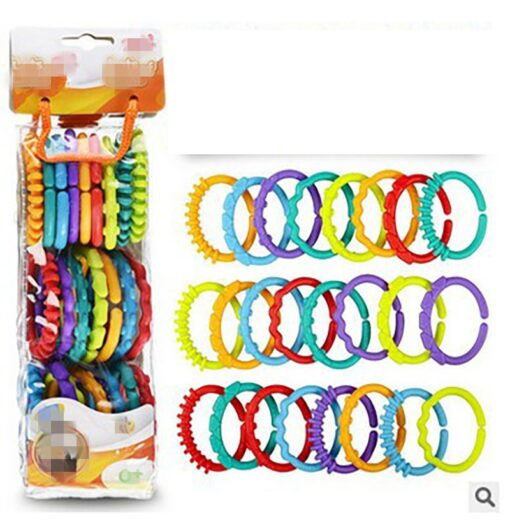 24Pcs Set Cute Colorful Rings Baby Teether Toy Crib Bed Stroller Hanging Rattles Toy Decoration Educational 2