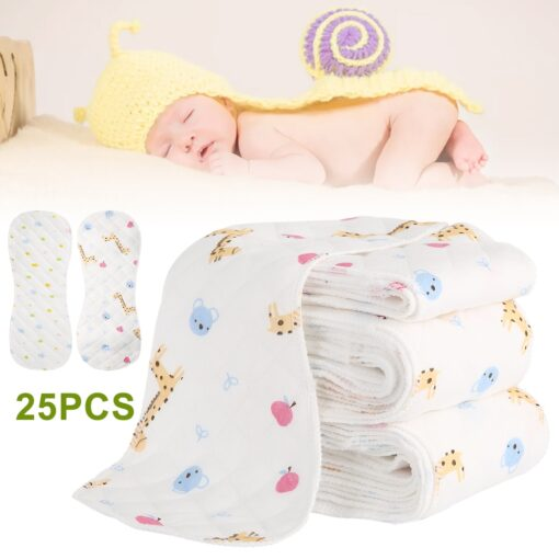 25pcs Reusable Infant Nappy Inserts Washable Cloth Diapers Soft Peanut Shaped 3 layer Baby Nappy Water 1