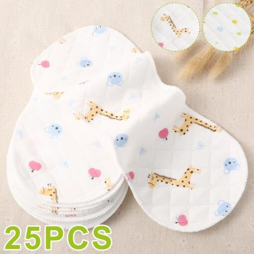25pcs Reusable Infant Nappy Inserts Washable Cloth Diapers Soft Peanut Shaped 3 layer Baby Nappy Water
