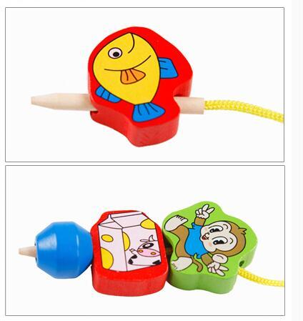 26Pcs Blocks Cartoon Animals Fruit Block Wooden Toys Stringing Threading Beads Game Educational Toy for Baby 1