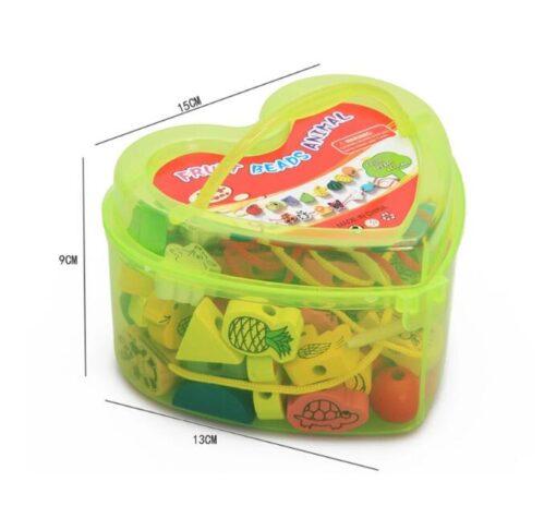 26Pcs Blocks Cartoon Animals Fruit Block Wooden Toys Stringing Threading Beads Game Educational Toy for Baby 2