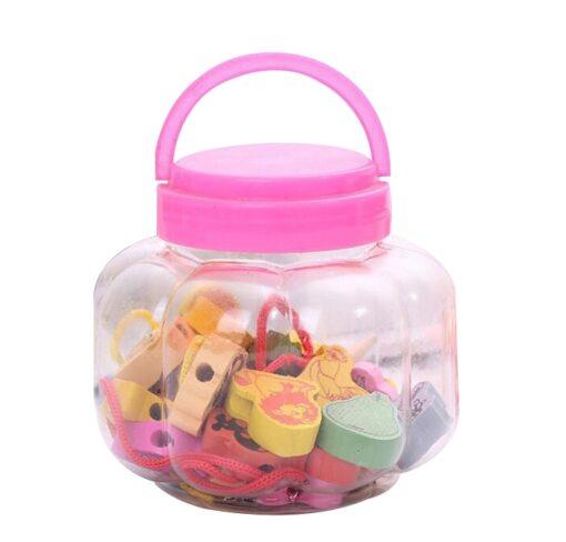 26Pcs Blocks Cartoon Animals Fruit Block Wooden Toys Stringing Threading Beads Game Educational Toy for Baby 3