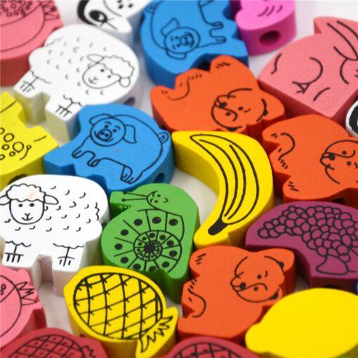 26Pcs Blocks Cartoon Animals Fruit Block Wooden Toys Stringing Threading Beads Game Educational Toy for Baby 4