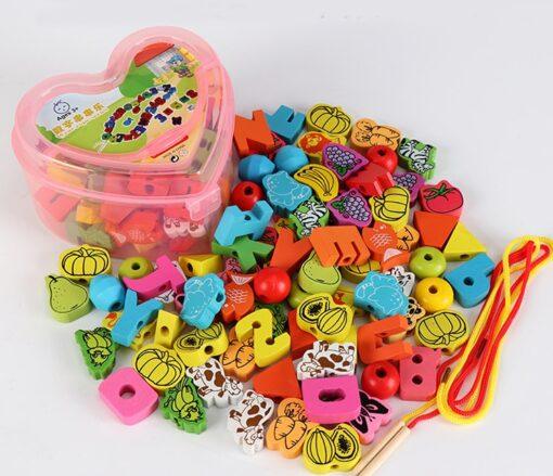 26Pcs Blocks Cartoon Animals Fruit Block Wooden Toys Stringing Threading Beads Game Educational Toy for Baby 5