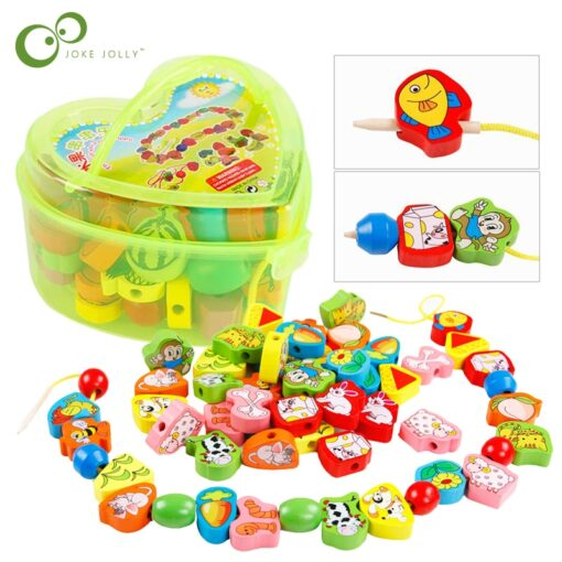 26Pcs Blocks Cartoon Animals Fruit Block Wooden Toys Stringing Threading Beads Game Educational Toy for Baby