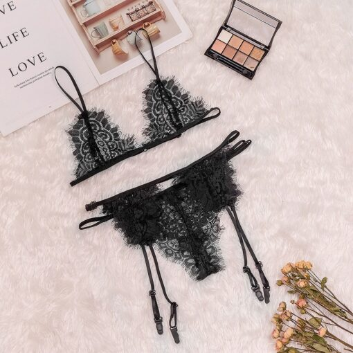 2PCS 2020 New Sexy Lingerie Women Hollow Lace Embroidery G string Thong Temptation Underwear Sleepwear Imitated