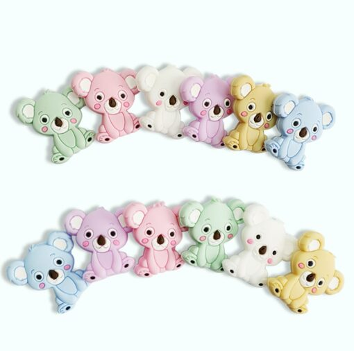 2PCS Baby Animal Silicone Teethers Koala Baby Teething Product Accessories For Pacifier Chains BPA Free 1