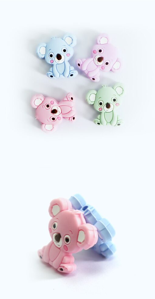 2PCS Baby Animal Silicone Teethers Koala Baby Teething Product Accessories For Pacifier Chains BPA Free 2