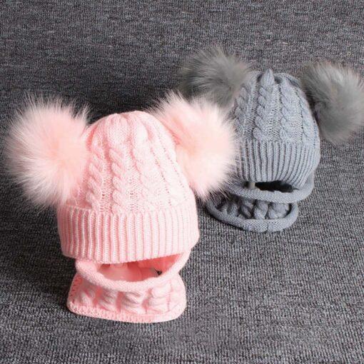 2PCS Kid Winter Hats Baby Girls Boys Knitting Wool Hemming Keep Warm Winter Hairball Cap Hat 1