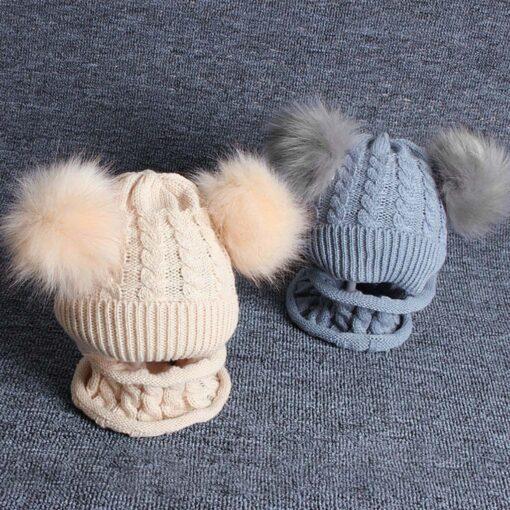 2PCS Kid Winter Hats Baby Girls Boys Knitting Wool Hemming Keep Warm Winter Hairball Cap Hat 2