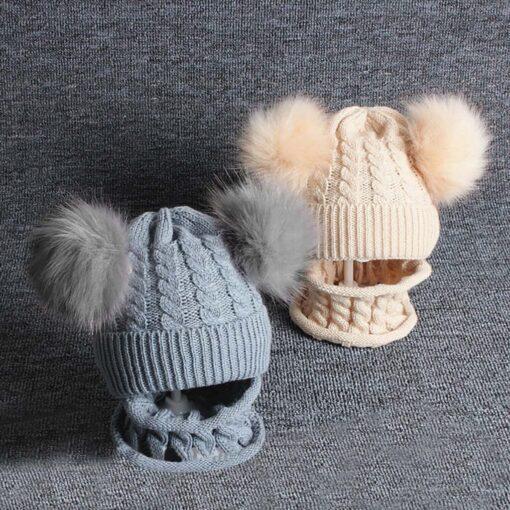2PCS Kid Winter Hats Baby Girls Boys Knitting Wool Hemming Keep Warm Winter Hairball Cap Hat 3