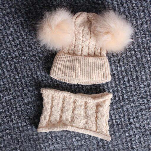 2PCS Kid Winter Hats Baby Girls Boys Knitting Wool Hemming Keep Warm Winter Hairball Cap Hat 4