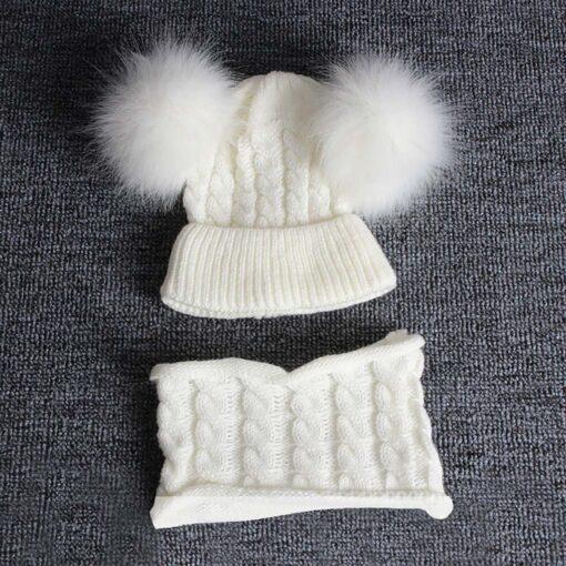 2PCS Kid Winter Hats Baby Girls Boys Knitting Wool Hemming Keep Warm Winter Hairball Cap Hat 5