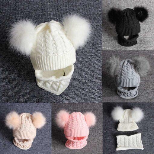 2PCS Kid Winter Hats Baby Girls Boys Knitting Wool Hemming Keep Warm Winter Hairball Cap Hat